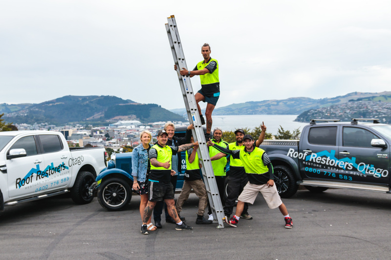 Roof Restorers work across Dunedin and aren't afraid of heights!